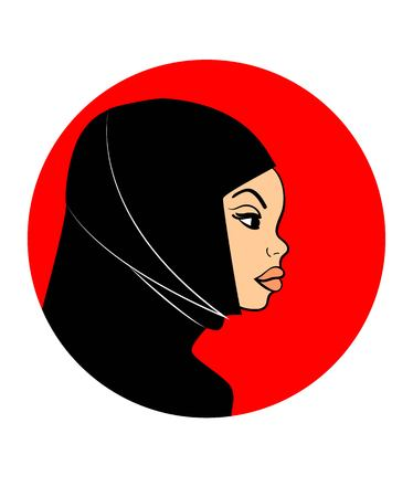 Image of an Arab Muslim sympathetic woman in black hijab in profile. Suited for avatar icon Illustration