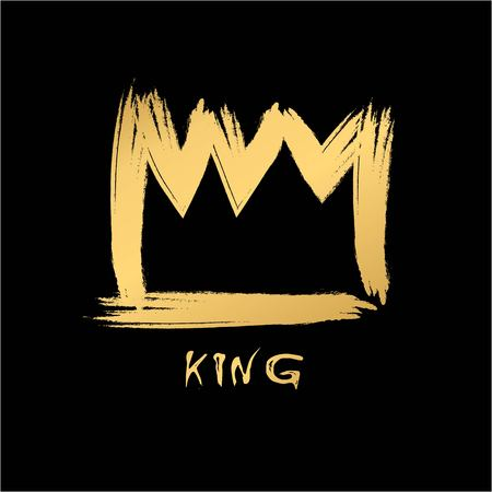 object complement: Painted with a brush crown of the king in grunge style gold on an isolated black layer