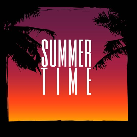 wawe: Summer background with grunge element and palm trees. The concept of banners and frames. .vector illustrations for social media, posters, email, print, promotional material. Illustration