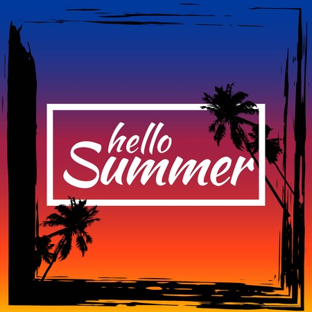 Summer background with grunge element and palm trees. The concept of banners and frames. .vector illustrations for social media, posters, email, print, promotional material. Illustration