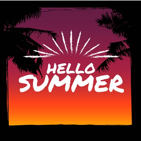 wawe: Summer background with grunge element and palm trees. The concept of banners and frames. .vector illustrations for social media, posters, email, print, promotional material