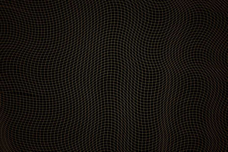 Abstract golden wavy grid on black background. The geometric squared pattern. 3d vector mesh illustration. Distorted monochrome texture. Stripe deformation background. Dynamical rippled surface. Illusztráció