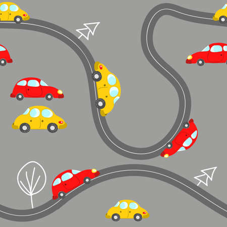 Seamless pattern with cute cars on blue background. Cartoot transport. Vector illustration. Doodle style. Design for baby print, invitation, poster, card, fabric, textile Ilustración de vector