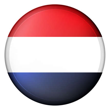 Glass light ball with flag of Netherlands. Round sphere, template icon. Dutch national symbol. Glossy realistic ball, 3D abstract vector illustration highlighted on a white background. Big bubble