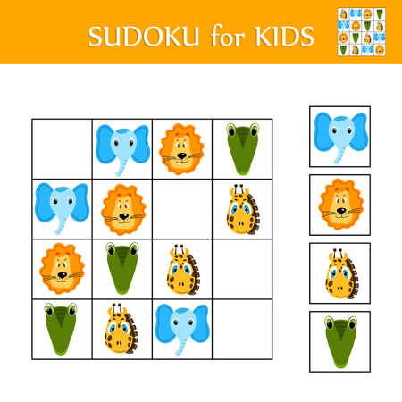 Sudoku game for children with pictures. Logic kids activity sheet. Colorful cute animals. Educational card for children. Maths child poster. School vector illustration