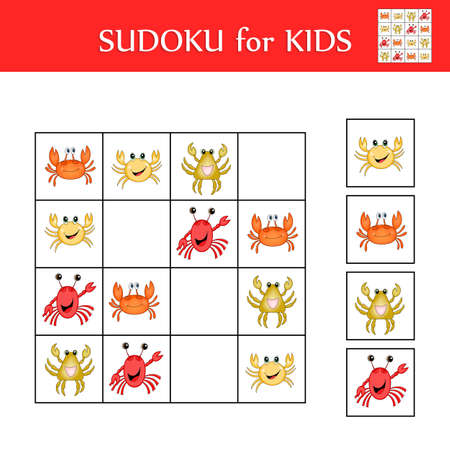 Sudoku game for children with pictures. Logic kids activity sheet. Colorful cute crabs. Educational card for children. Maths child poster. School vector illustration.