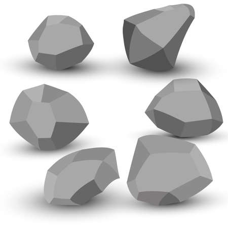 Cartoon stones. Rock stone isometric set. Granite grey boulders, natural building block shapes, wall stones. 3d flat isolated illustration. Vector collection