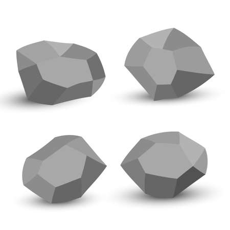 Cartoon stones. Rock stone isometric set. Granite grey boulders, natural building block shapes, wall stones. 3d flat isolated illustration. Vector collection.