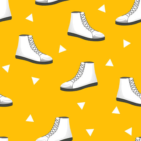 Seamless pattern with white womens shoes on yellow background. Sneakers in flat style. Leather boots side view. Flat design.