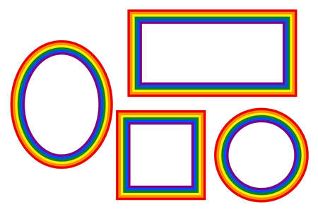 Flag LGBT icons, round and squared frames. Template border, vector illustration. Love wins. LGBT logo symbols in rainbow colors. Gay pride collection.