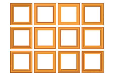 Big set of squared golden vintage wooden frame for your design. Vintage cover. Place for text. Vintage antique gold beautiful rectangular frames. Template vector illustration.