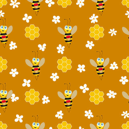 Seamless pattern with bees and honeycombs on brown background. Small wasp. Vector illustration. Adorable cartoon character. Template design for invitation, cards, textile, fabric. Doodle style.