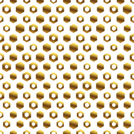 Golden background with honeycomb shapes. Seamless pattern with glitter effect. Template texture for invitation, poster, card, banner, announcements and others. Vector illustration.