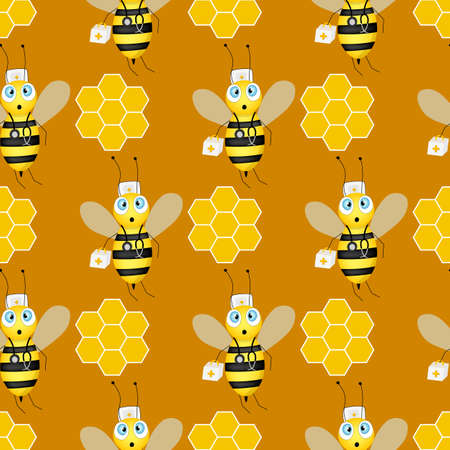 Seamless pattern with bees and honeycombs on brown background. Small wasp. Vector illustration. Adorable cartoon character. Design for invitation, textile, fabric. Doctor bee with medical instruments.