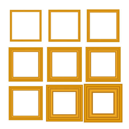 Set of squared golden vintage wooden frame for your design. Vintage cover. Place for text. Vintage antique gold beautiful rectangular frames. Template vector illustration.