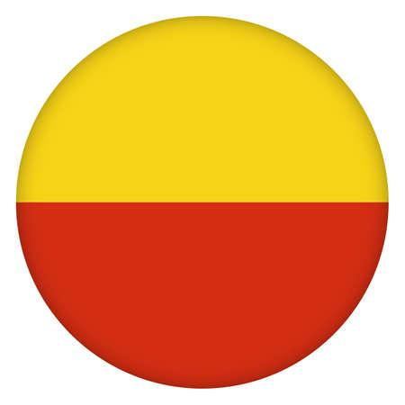 Flag of Prague city round icon, badge or button. Prague urban symbol. Template design, vector illustration.