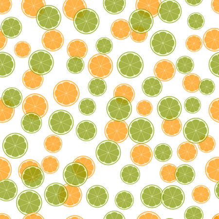Summer illustration with oranges and limes. Seamlees pattern with colorful fruits on white background. Food concept. Template design for invitation, poster, card, fabric, textile.