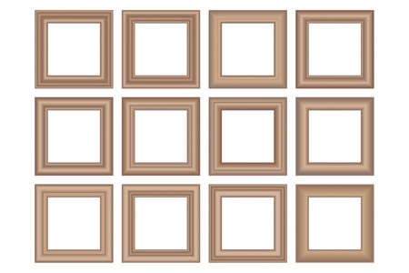 Big set of squared vintage wooden frame for your design. Vintage cover. Place for text. Vintage antique gold beautiful rectangular frames. Template vector illustration.