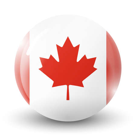 Glass light ball with flag of Canada. Round sphere, template icon. Canadian national symbol. Glossy realistic ball, 3D abstract vector illustration highlighted on a white background. Big bubble.