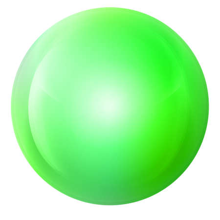 Glass neon green ball or precious pearl. Glossy realistic ball, 3D abstract vector illustration highlighted on a white background. Big metal bubble with shadow.