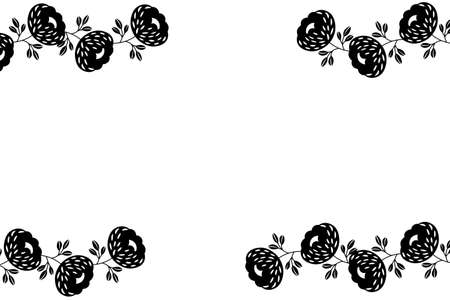 Floral frame based on traditional folk art ornaments on white background. Ornate border with black flowers. Vector stock illustration for wallpaper, posters, card. Scandinavian style. Copy space.