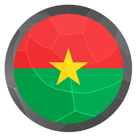 Glass light ball with flag of Burkina Faso. Round sphere, template icon. National symbol. Glossy realistic ball, 3D abstract vector illustration highlighted on a white background. Big bubble.