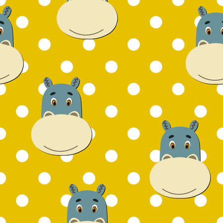 Vector flat animals colorful illustration for kids. Seamless pattern with cute hippopotamus face on yellow polka dots background. Adorable cartoon character. Design for card, poster, fabric, textile.