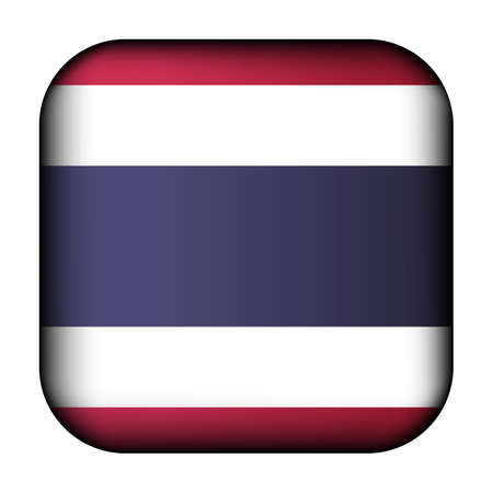 Glass light ball with flag of Thailand. Squared template icon. National symbol. Glossy realistic cube, 3D abstract vector illustration highlighted.