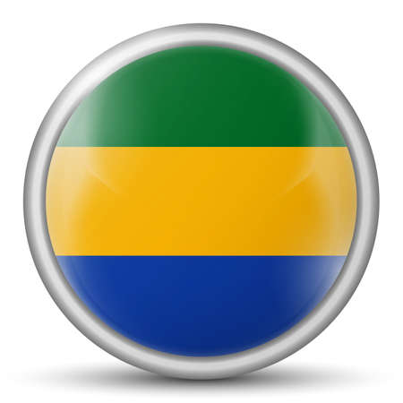 Glass light ball with flag of Gabon. Round sphere, template icon. National symbol. Glossy realistic ball, 3D abstract vector illustration highlighted on a white background. Big bubble.