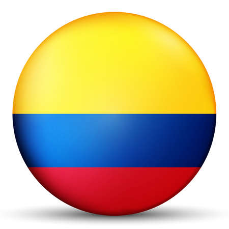 Glass light ball with flag of Colombia. Round sphere, template icon. Colombian national symbol. Glossy realistic ball, 3D abstract vector illustration highlighted on a white background. Big bubble. Stock Photo