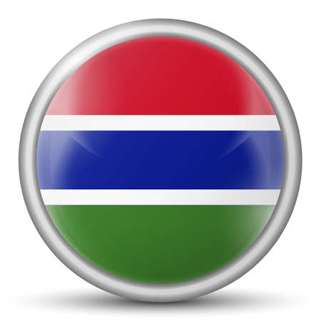Glass light ball with flag of Gambia. Round sphere, template icon. Gambian national symbol. Glossy realistic ball, 3D abstract vector illustration highlighted on a white background. Big bubble.