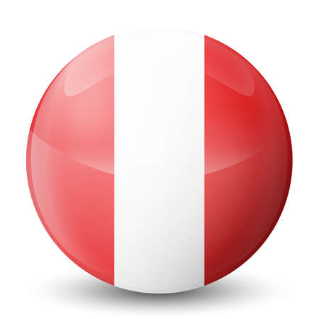 Glass light ball with flag of Peru. Round sphere, template icon. Peruvian national symbol. Glossy realistic ball, 3D abstract vector illustration highlighted on a white background. Big bubble.