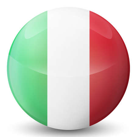 Glass light ball with flag of Italy. Round sphere, template icon. Italian national symbol. Glossy realistic ball, 3D abstract vector illustration highlighted on a white background. Big bubble.