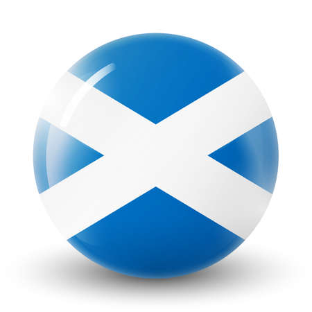 Glass light ball with flag of Scotland. Round sphere, template icon. Scottish national symbol. Glossy realistic ball, 3D abstract vector illustration highlighted on a white background. Big bubble.
