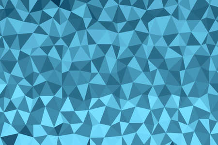 Polygonal dark blue mosaic background. Abstract low poly vector illustration. Triangular pattern in halftone style. Template geometric business design with triangle for poster, banner, card, flyer.