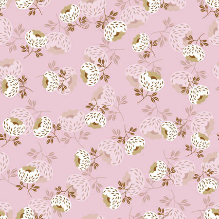 Seamless floral pattern based on traditional folk art ornaments. Colorful flowers on color background. Scandinavian style. Sweden nordic style. Vector illustration. Simple minimalistic pattern.