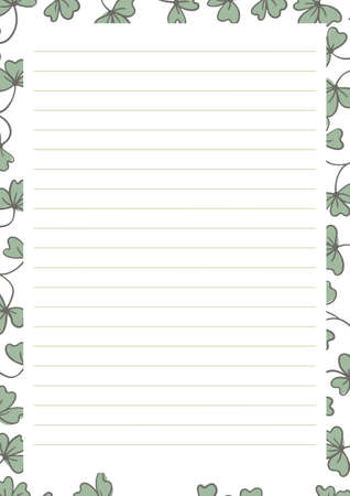 Grid paper. Abstract striped background with color horizontal lines. Printing paper note on floral background. Optimal A4 size. Geometric pattern for school, copybooks, notebooks, diary, notes, books