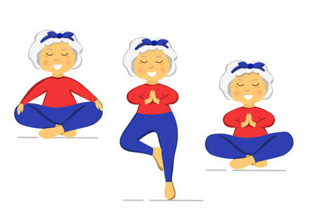 Sporty Granny does Yoga. Old person. Vector colorful cartoon illustration. Senior woman in pose yoga. Exercising for better health. Isolated flat image. Grandma. Grandmother characters set.