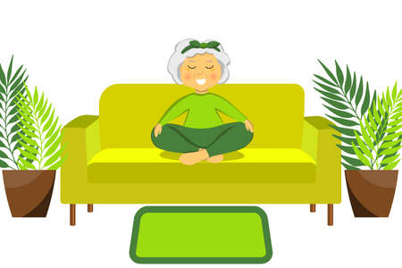 Sporty Granny does yoga on a sofa. Old person. Vector colorful cartoon illustration. Senior woman in pose yoga. Exercising for better health. Isolated flat image. Grandma. Grandmother character.