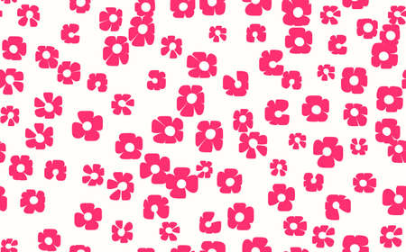 Floral seamless with hand drawn color flowers. Cute summer background. Modern floral compositions. Fashion vector stock illustration for wallpaper, posters, card, fabric, textile
