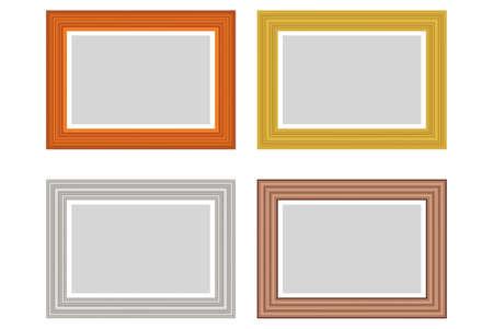Big set of squared golden vintage wooden frame for your design. Vintage cover. Place for text. Vintage antique gold beautiful rectangular frames. Template vector illustration