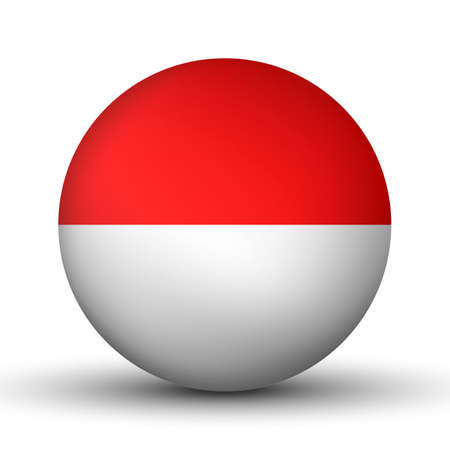 Glass light ball with flag of Indonesia. Round sphere, template icon. Indonesian national symbol. Glossy realistic ball, 3D abstract vector illustration highlighted on a white background. Big bubble Ilustração Vetorial