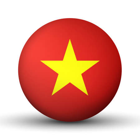 Glass light ball with flag of Vietnam. Round sphere, template icon. Vietnamese national symbol. Glossy realistic ball, 3D abstract vector illustration highlighted on a white background. Big bubble