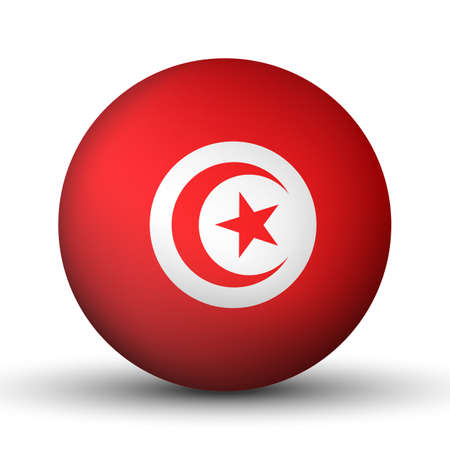 Glass light ball with flag of Tunisia. Round sphere, template icon. Tunisian national symbol. Glossy realistic ball, 3D abstract vector illustration highlighted on a white background. Big bubble