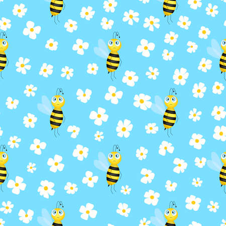 Seamless pattern with bees and flowers on color background. Small wasp. Vector illustration. Adorable cartoon character. Template design for invitation, cards, textile, fabric. Doodle style Banque d'images - 167014124