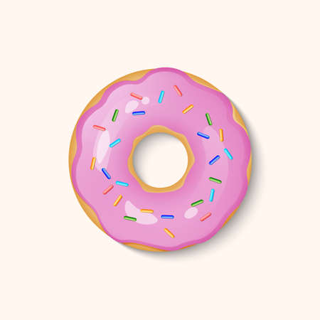 Donut with pink icing and multicolored powder isolated on a white background. 3d realistic food icon. Template modern design for invitation, poster, fabric, textile. Realistic vector illustration Ilustracje wektorowe