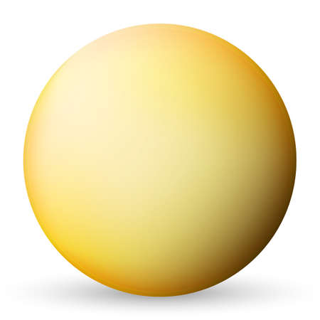 Glass yellow ball or precious pearl. Glossy realistic ball, 3D abstract vector illustration highlighted on a white background. Big metal bubble with shadow
