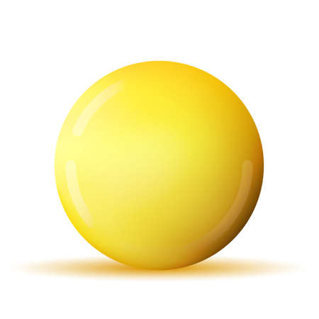 Glass yellow ball or precious pearl. Glossy realistic ball, 3D abstract vector illustration highlighted on a white background. Big metal bubble with shadow Vecteurs