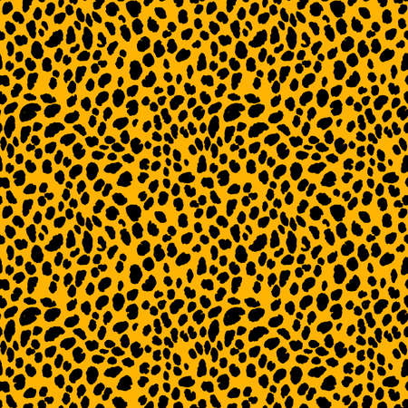 Abstract modern leopard seamless pattern. Animals trendy background. Orange and black decorative vector stock illustration for print, card, postcard, fabric, textile. Modern ornament of stylized skin