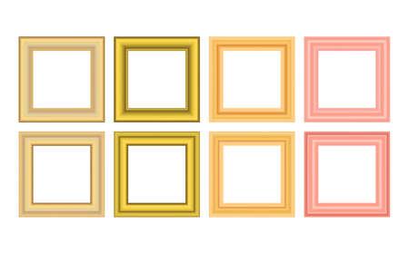 Squared golden vintage wooden frame for your design. Vintage cover. Place for text. Vintage antique gold beautiful rectangular frames. Template vector illustration Vektorgrafik